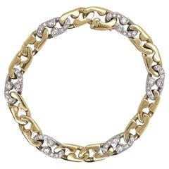 18 Karat Two Tone Diamond Link Bracelet 25 Grams