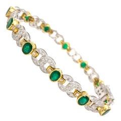 18 Karat Two-Tone Emerald and Diamond Link Bracelet