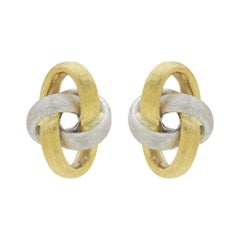 18 Karat Two Tone, Florentine Finish, Infinity Style Earrings