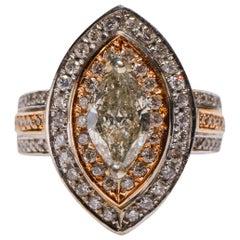 18 Karat Two-Tone Gold 2.9 Carat Marquise Shape Diamond Ring Engagement in Stock
