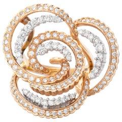18 Karat Two-Tone Gold Diamond Cocktail Ring