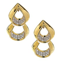 18 Karat Two-Tone Gold Diamond Drop Earrings