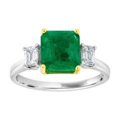 18 Karat Two-Tone Gold Emerald Three-Stone Diamond Ring 'Center-2.31 Carat'