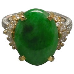 18 Karat Two-Tone Gold GIA Jade Ring
