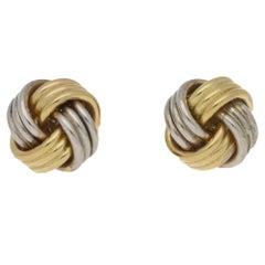 18 Karat Two-Tone Gold Knot Stud Earrings