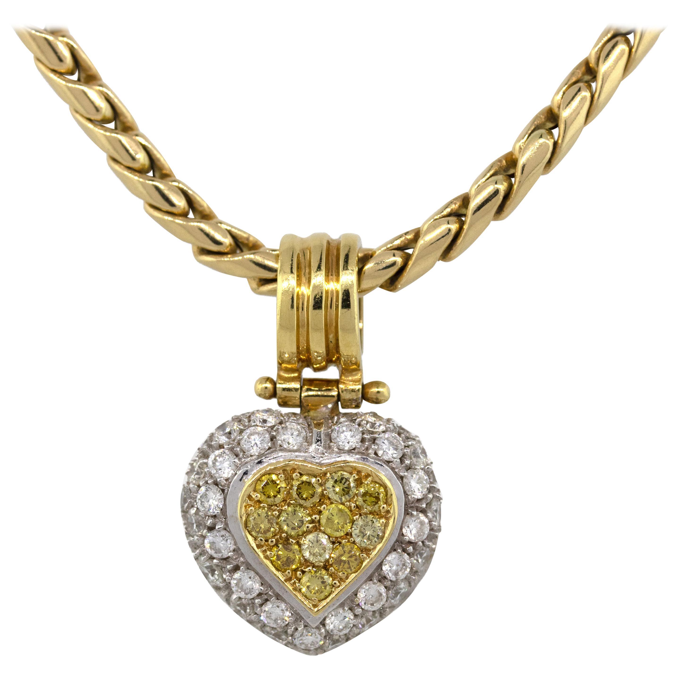 18 Karat Two-Tone Gold Pave 1 Carat Diamond Heart on Yellow Gold Chain