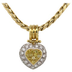 18 Karat Two-Tone Gold Pave 1 Carat Diamond Heart on Yellow Gold Chain