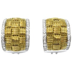 18 Karat Two-Tone Gold Roberto Coin Diamond Earrings