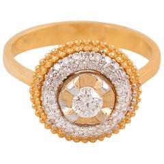 18 Karat Two-Tone Gold Round Diamond Ring