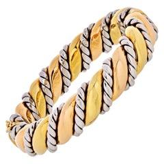18 Karat Two-Tone Hinged and Textured Bangle Bracelet