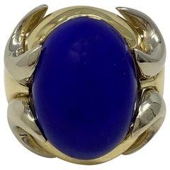 18 Karat Two-Tone Lapis Lazuli Ring