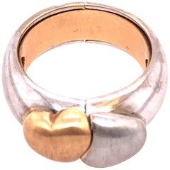 18 Karat Two-Tone Matte Gold Heart Fashion Ring