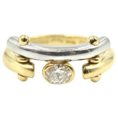 18 Karat Two-Tone Single Oval 0.33 Carat Diamond Fashion Ring