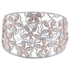 18 Karat Two-Tone Wide Diamond Open Floral Bangle Bracelet