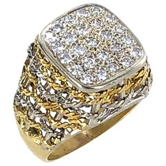 18 Karat Two-Tone Woven Gold Diamond Square Top Vintage Cocktail Ring