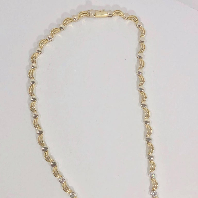 18 Karat Two-Tone Yellow/ White Gold and 1.0 Carat Diamond Fancy Link Necklace For Sale 8