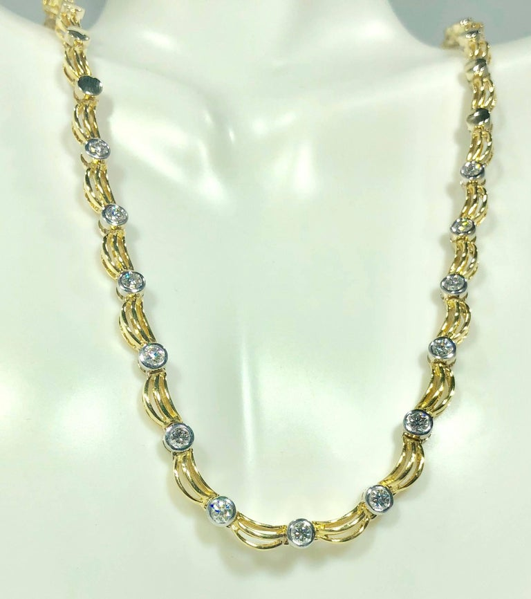 Modern 18 Karat Two-Tone Yellow/ White Gold and 1.0 Carat Diamond Fancy Link Necklace For Sale