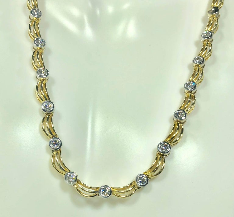 Round Cut 18 Karat Two-Tone Yellow/ White Gold and 1.0 Carat Diamond Fancy Link Necklace For Sale