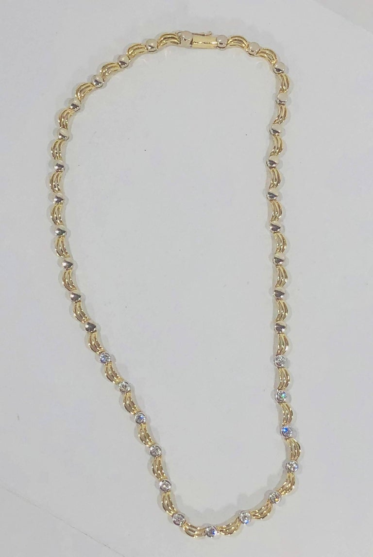 Women's or Men's 18 Karat Two-Tone Yellow/ White Gold and 1.0 Carat Diamond Fancy Link Necklace For Sale