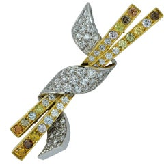 18 Karat Two-Toned Fancy Colored Diamond Broach Pin