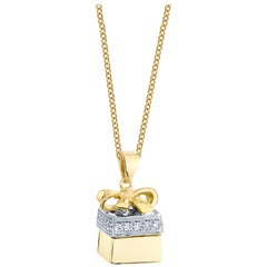 """18k Two-toned Gold, Diamond """"Gift Box"""" w/ Unset Amethyst Heart Pendant Necklace"""