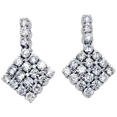 1.67 Ct 18 Karat U-Pave Set Dangling Diamond Earring