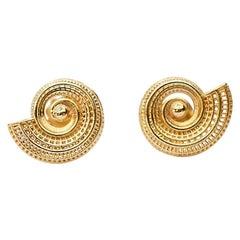 18 Karat Unique Statement Earrings Spiral Earrings Contemporary Fine Jewelry