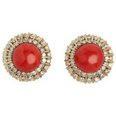 18 Karat Very Fine Coral and Diamond Earrings