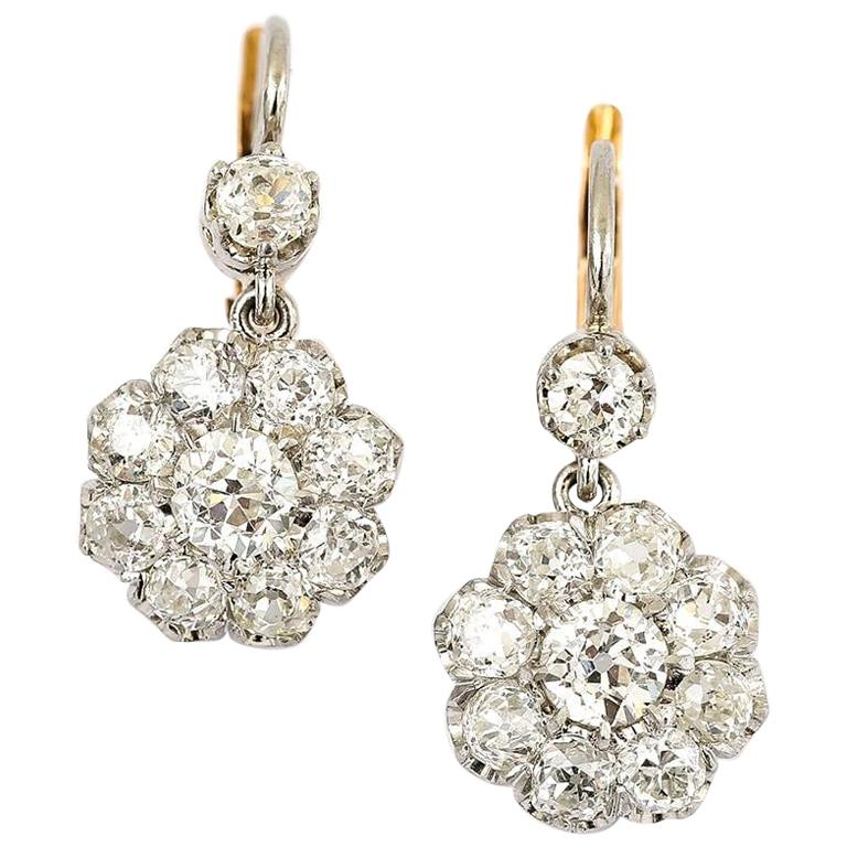 0951c997adc4f 18 Karat Victorian Old European Cut Diamond 4.20 Carat Cluster Earrings