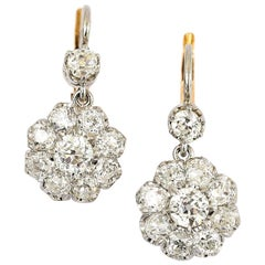 Victorian 4.20 Carat Old European Cut Diamond Cluster Earrings in 18 Karat Gold
