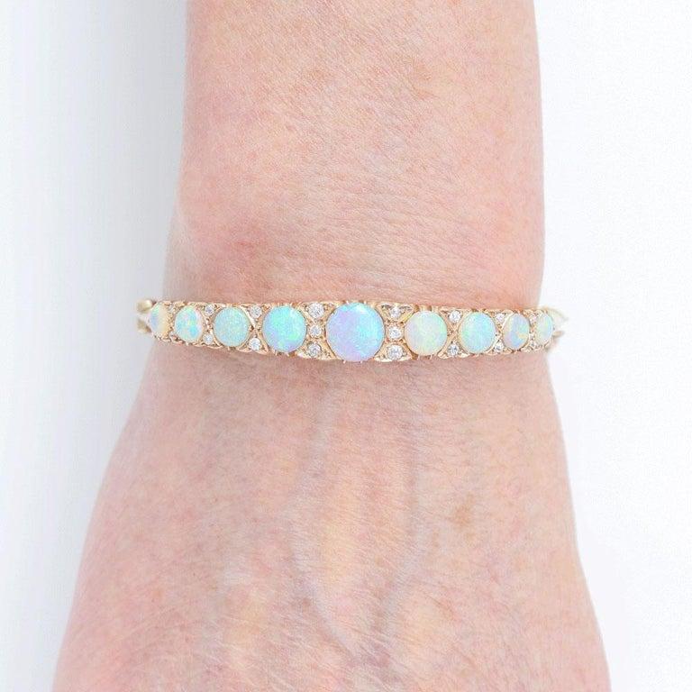 Victorian Antique Opal and Diamond Bangle Bracelet 18 Karat Yellow Gold  For Sale 6