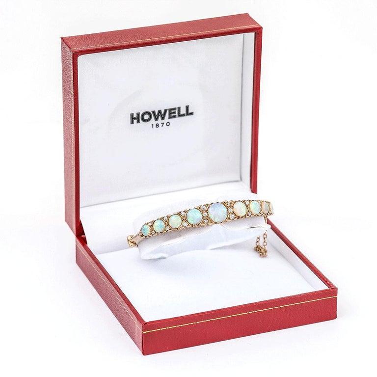 Victorian Antique Opal and Diamond Bangle Bracelet 18 Karat Yellow Gold  For Sale 7