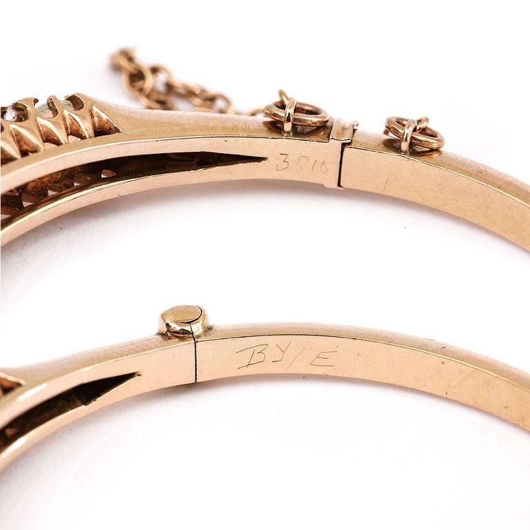 Victorian Antique Opal and Diamond Bangle Bracelet 18 Karat Yellow Gold  For Sale 8