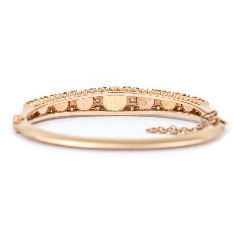 Victorian Antique Opal and Diamond Bangle Bracelet 18 Karat Yellow Gold  For Sale 2
