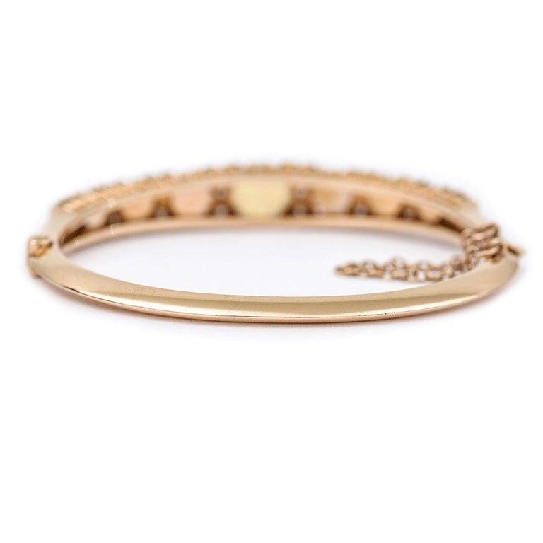 Victorian Antique Opal and Diamond Bangle Bracelet 18 Karat Yellow Gold  For Sale 3