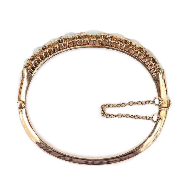 Victorian Antique Opal and Diamond Bangle Bracelet 18 Karat Yellow Gold  For Sale 4