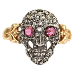 18 Karat Victorian Rose Cut Ruby and Diamond Momento Mori Skull Ring