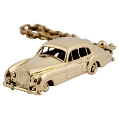 18 Karat Vintage Cartier Rolls Royce Keychain with Moveable Wheels