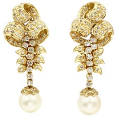 18 Karat Vintage Diamond and Pearl Drop Earrings