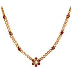 18 Karat Vintage Gucci Ruby and Diamond Necklace Yellow Gold