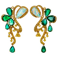 18 Karat Vivid Green Emerald and Ethiopian Opal Dangle Earring