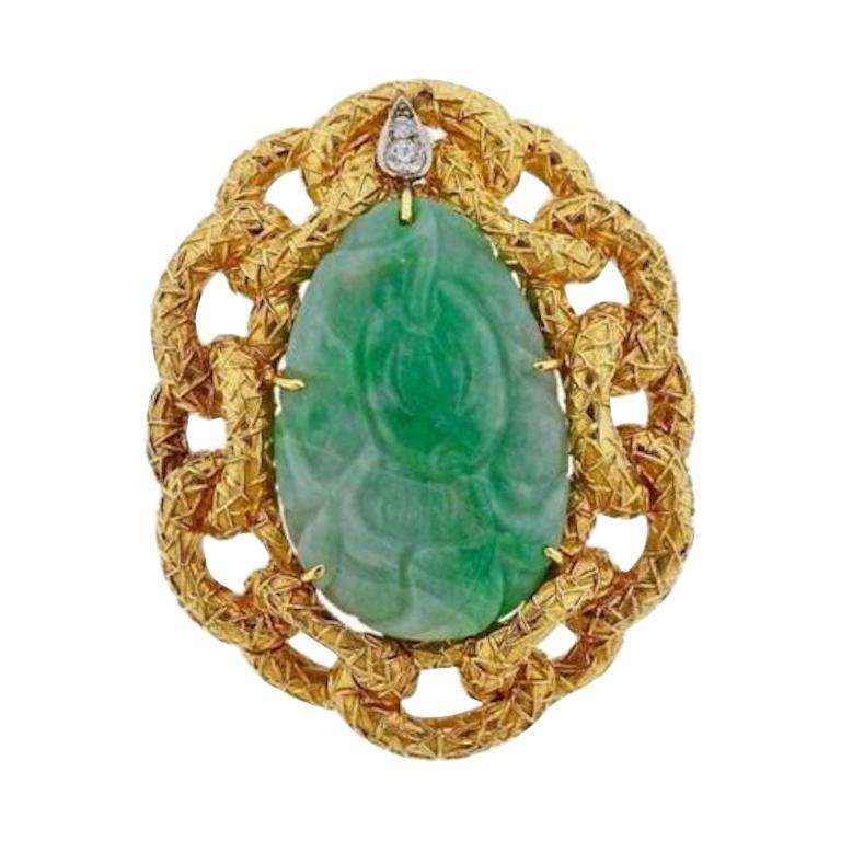 18 Karat Wander Midcentury Retro Large Diamond Jade Pin Brooch For Sale