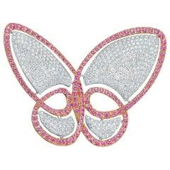 18 Karat WG, 4.20 Carat Diamond and 4.80 Carat Pink Sapphire Butterfly Brooch