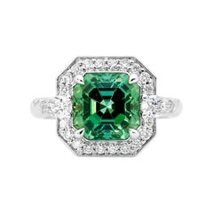 18 Karat WG 4.27 Carat Mint Tourmaline and Diamond Dress Ring
