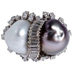 18 Karat WG Huge White and Gray Baroque Pearls 1.5 Carat Diamond Cocktail Ring