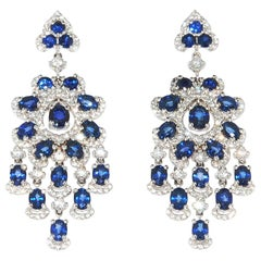 18 Karat Weight Gold Sapphire and Diamond Chandelier Style Earrings