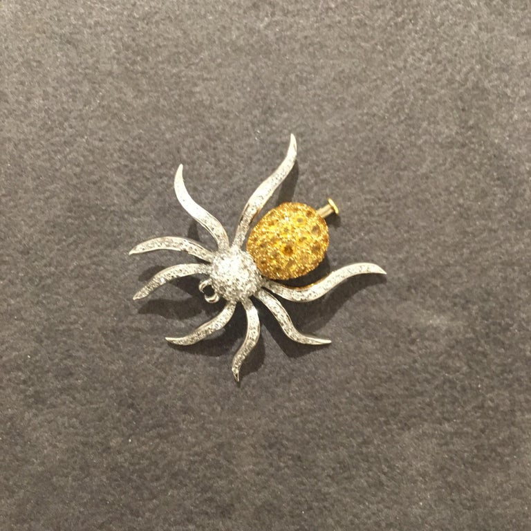 Modern 18 Karat WG Spider Brooch with 1.00Ct Diamonds and 1.97Ct Yellow Sapphires For Sale