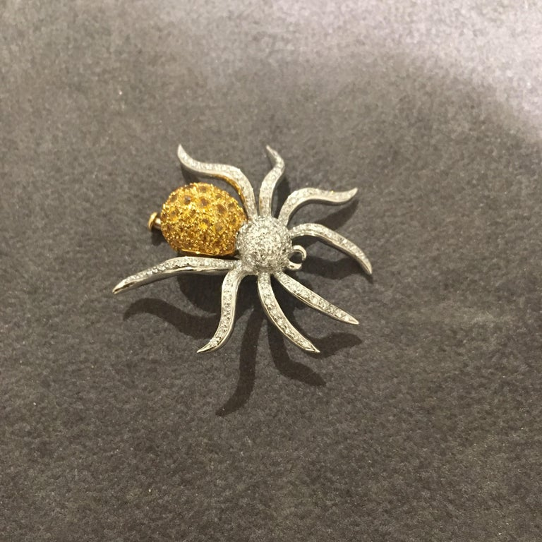 18 Karat WG Spider Brooch with 1.00Ct Diamonds and 1.97Ct Yellow Sapphires In New Condition For Sale In New York, NY