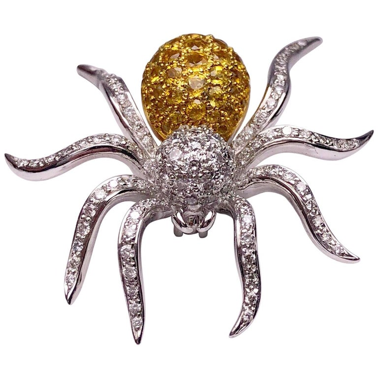 18 Karat WG Spider Brooch with 1.00Ct Diamonds and 1.97Ct Yellow Sapphires For Sale
