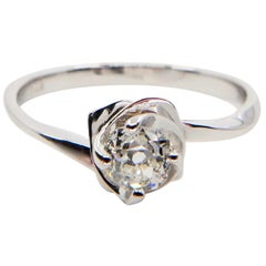 18 Karat White Gold Rose Flower Ring with Old Mine Cut Diamonds, Unique 3D Look